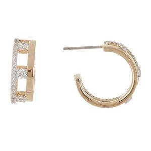 NADRI Trio CZ Small Hoop Earrings
